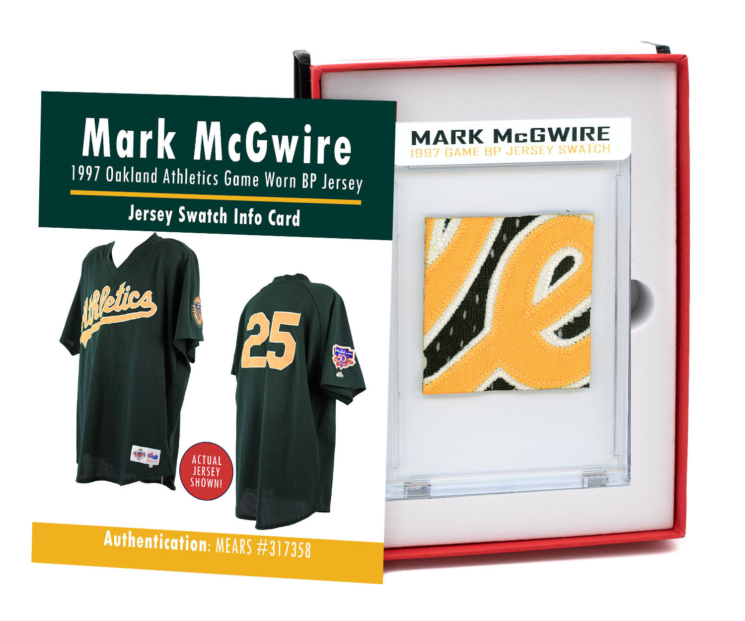 MARK McGWIRE 1997 ATHLETICS GAME WORN BP JERSEY MYSTERY SWATCH BOX!