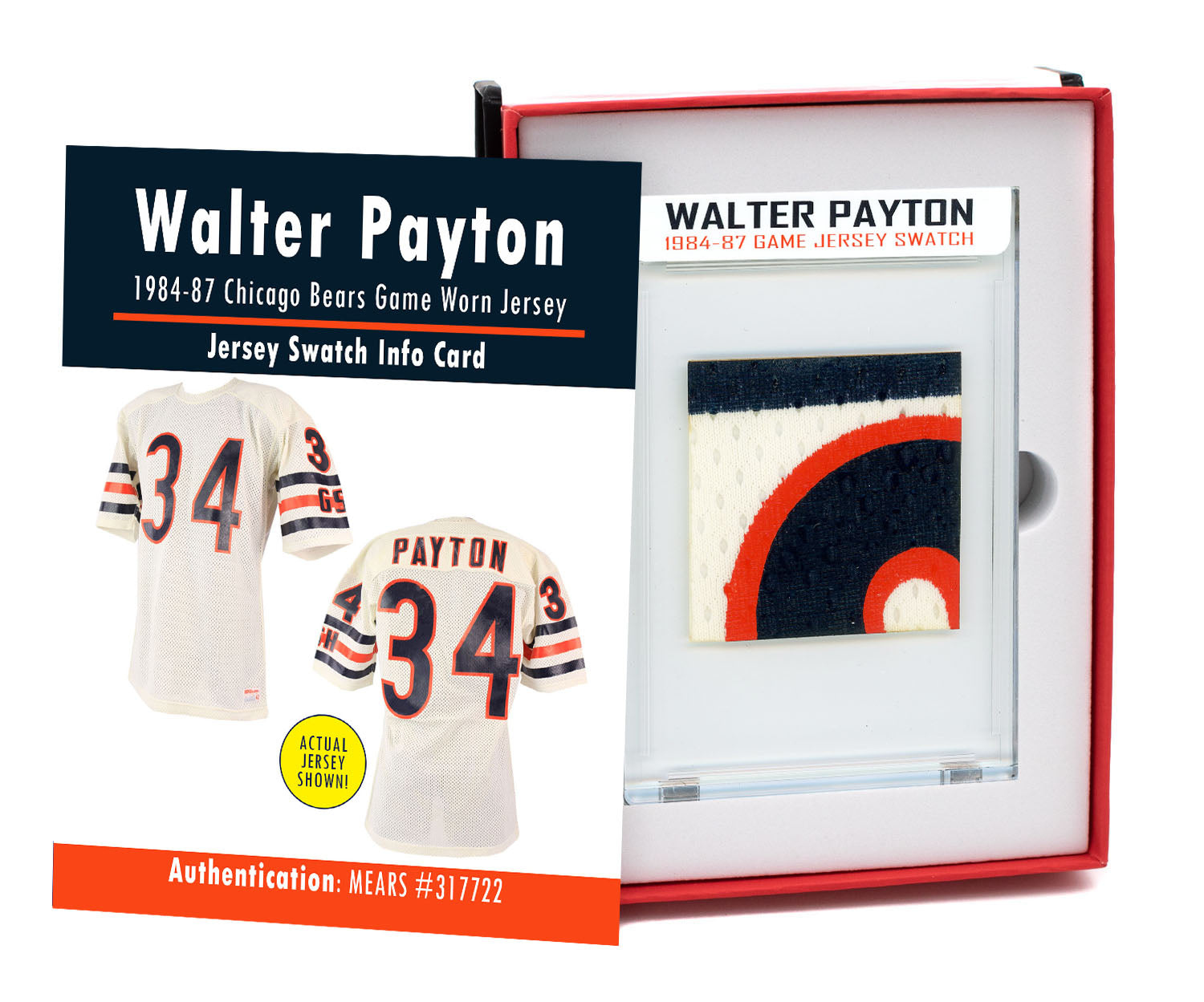 WALTER PAYTON 1984-87 BEARS GAME WORN JERSEY MYSTERY SEALED SWATCH BOX!