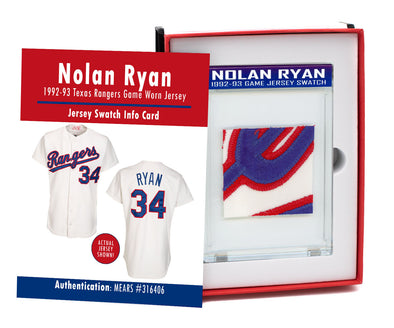 Nolan Ryan 1992-93 Texas Rangers Game Worn Jersey Mystery Swatch Box