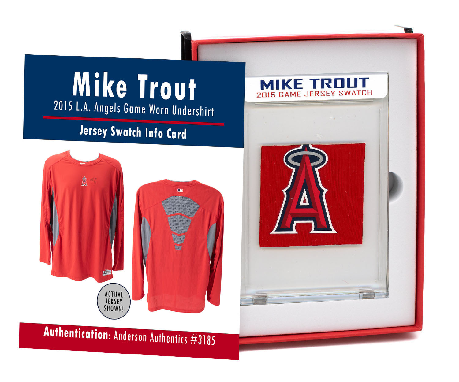 MIKE TROUT 2015 ANGELS GAME WORN UNDERSHIRT MYSTERY SWATCH BOX!