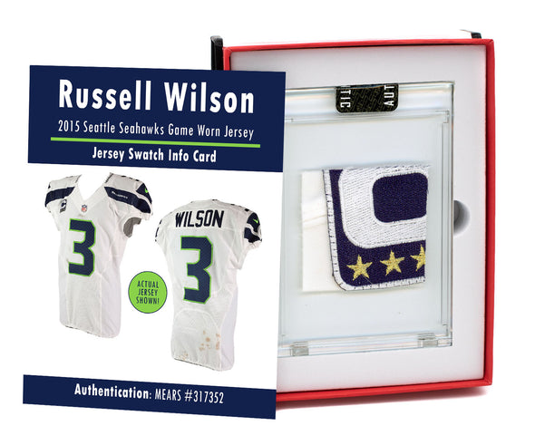 Russell Wilson 2015 Seattle Seahawks Game Worn Jersey Mystery Swatch Box