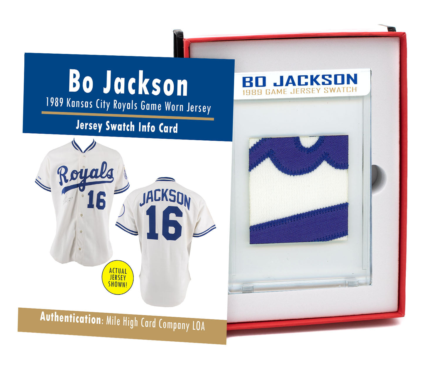 BO JACKSON 1989 KC ROYALS GAME WORN JERSEY MYSTERY SEALED SWATCH BOX!