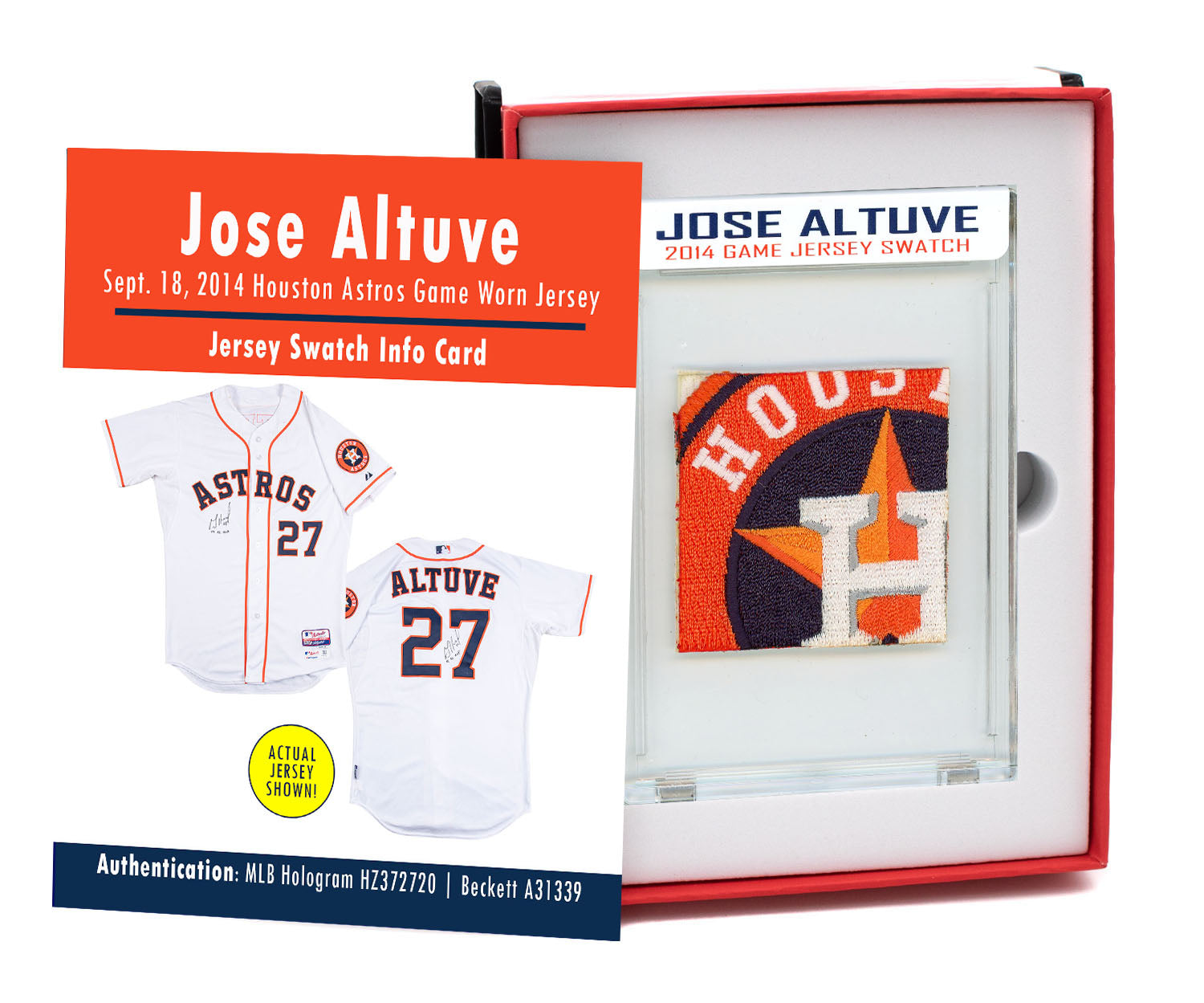 JOSE ALTUVE 2014 ASTROS GAME WORN JERSEY MYSTERY SWATCH BOX!