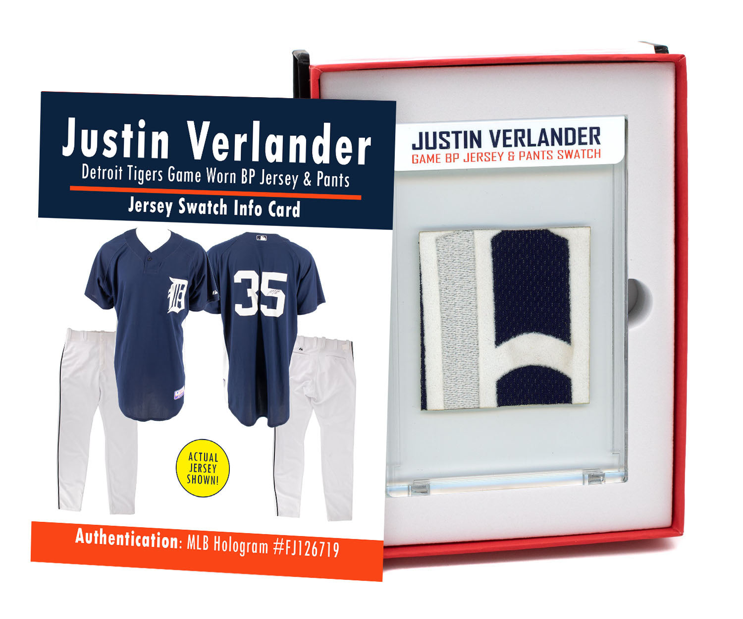 JUSTIN VERLANDER TIGERS GAME WORN BP JERSEY & PANTS MYSTERY SEALED SWATCH BOX!