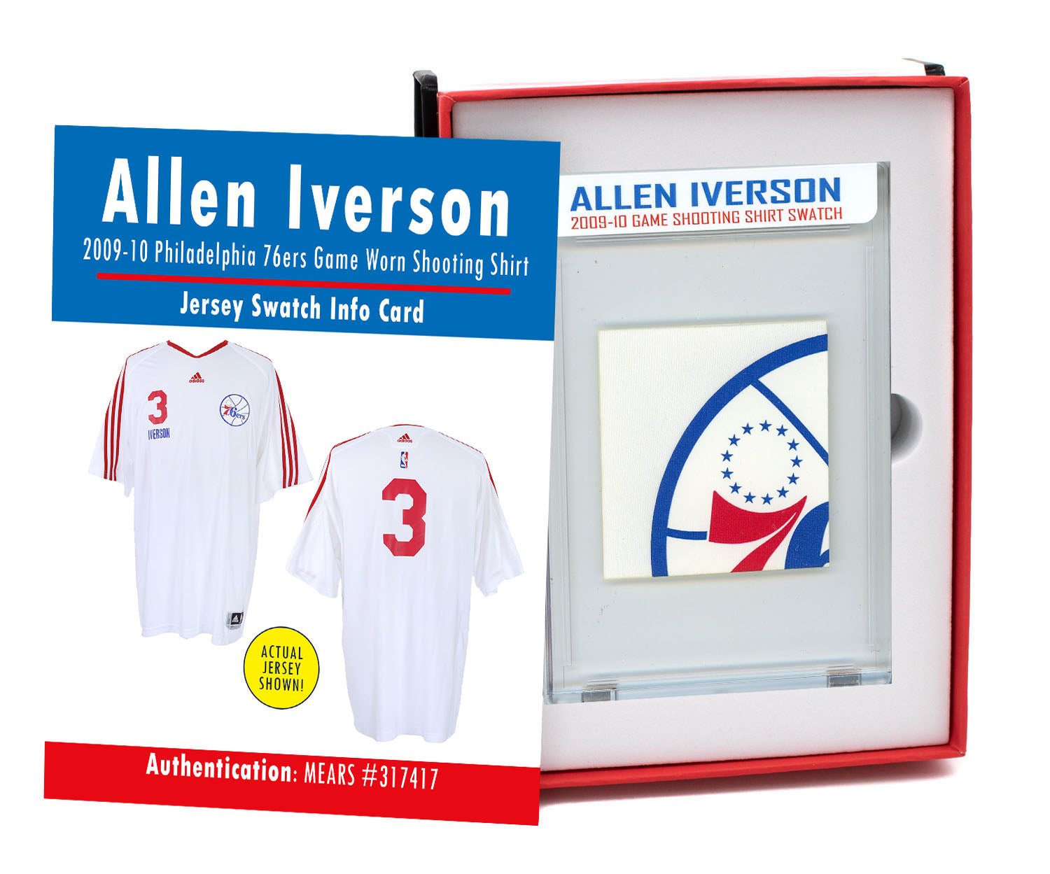 ALLEN IVERSON 2009-10 76ers GAME WORN SHOOTING SHIRT MYSTERY SEALED SWATCH BOX!