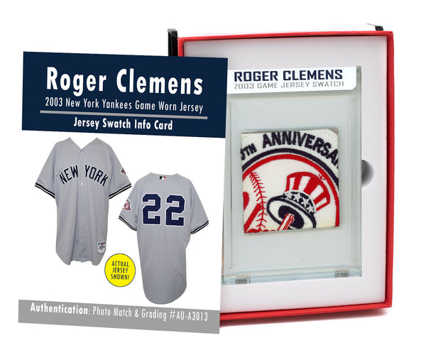 ROGER CLEMENS 2003 NY YANKEES GAME WORN JERSEY MYSTERY SEALED SWATCH BOX!