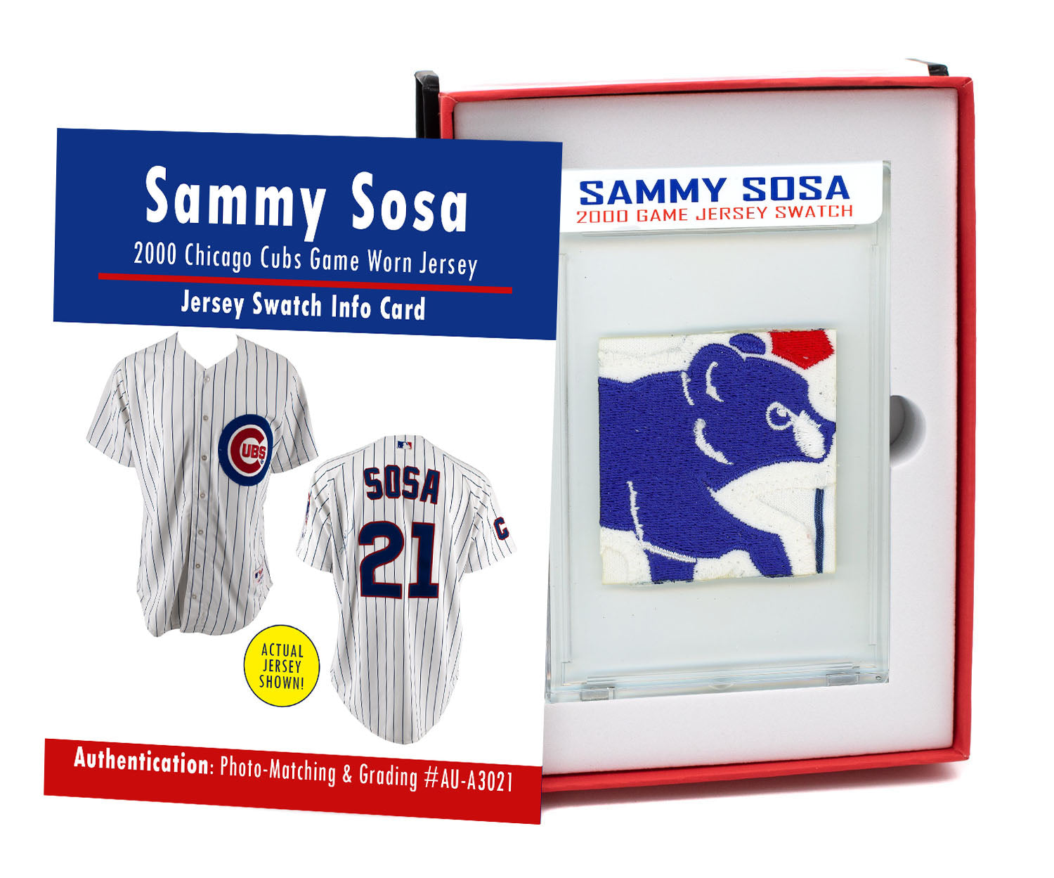 SAMMY SOSA 2000 CHICAGO CUBS GAME WORN JERSEY MYSTERY SEALED SWATCH BOX!