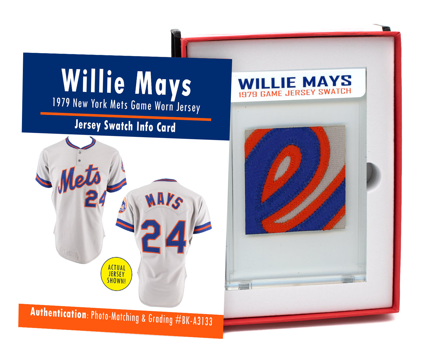 WILLIE MAYS 1979 METS GAME WORN JERSEY MYSTERY SWATCH BOX!