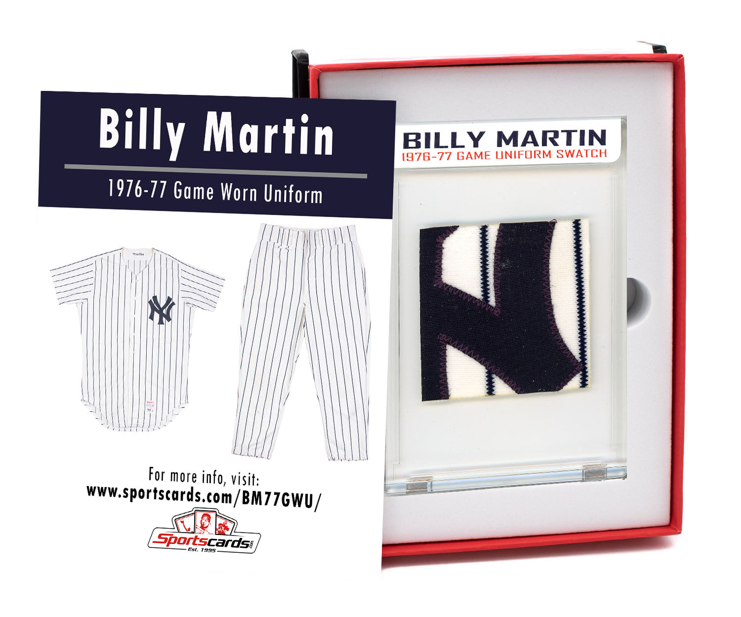 Billy Martin 1976-77 NY Yankees Game Worn Uniform Mystery Sealed Swatch Box