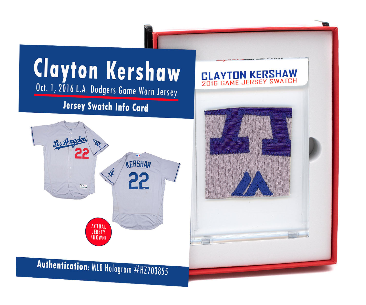 CLAYTON KERSHAW 2016 DODGERS GAME WORN JERSEY MYSTERY SEALED SWATCH BOX!