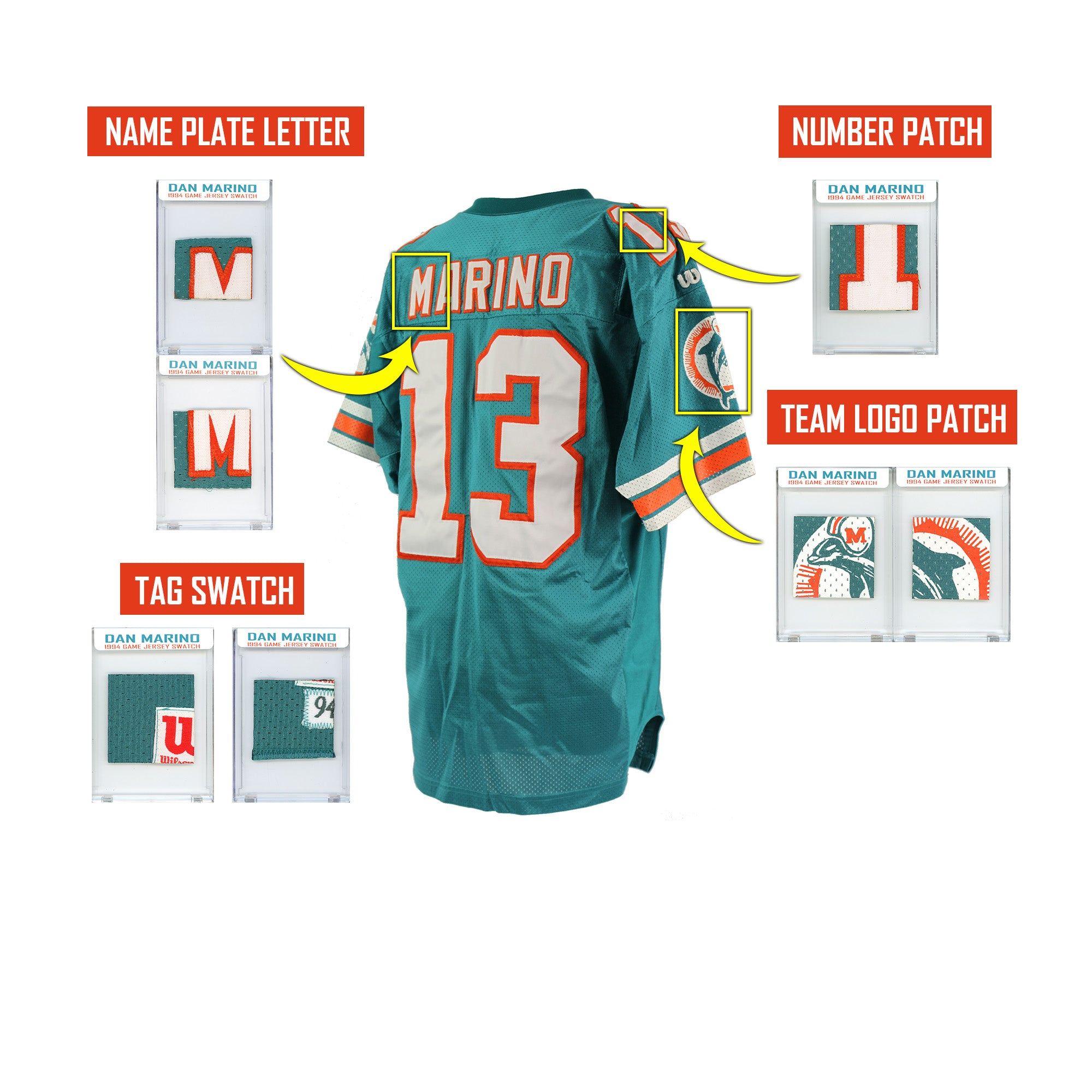 DAN MARINO 1994 DOLPHINS GAME WORN JERSEY MYSTERY SEALED SWATCH BOX!