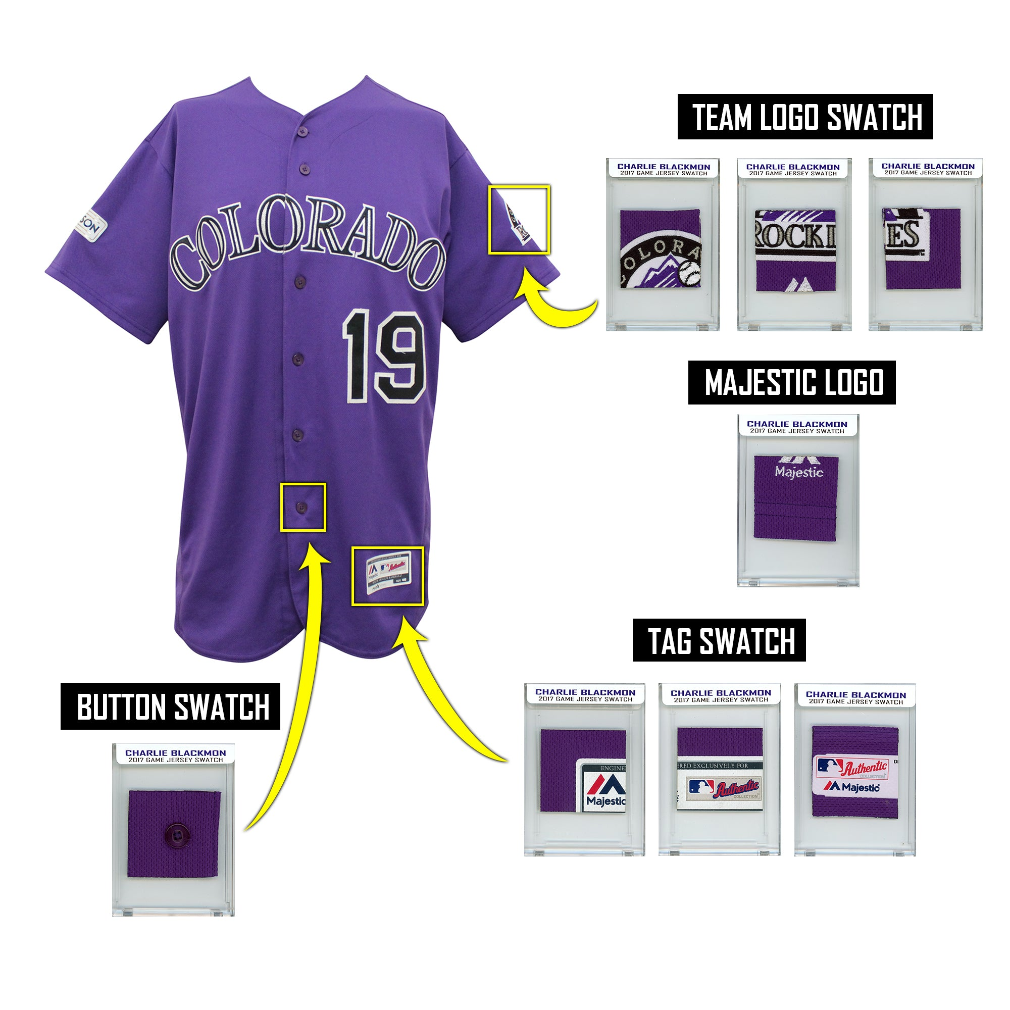 CHARLIE BLACKMON 2017 ROCKIES GAME WORN MYSTERY SEALED SWATCH BOX! PATCHES ONLY!