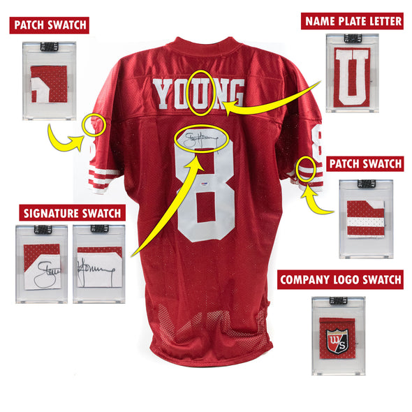Steve Young 1995 San Francisco 49ers Game Worn Jersey Mystery Swatch Box