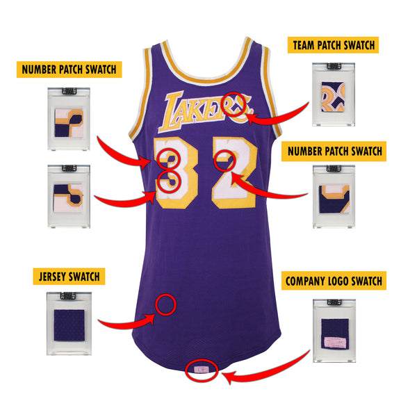 Magic Johnson 1980's LA Lakers Game Worn Jersey Mystery Swatch Box