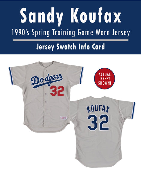 Sandy Koufax 1990's Dodgers Spring Training Game Worn Jersey Mystery Swatch Box