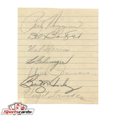 1942 Detroit Tigers Signed Cut with 7 Autographs Gehringer, McCosky