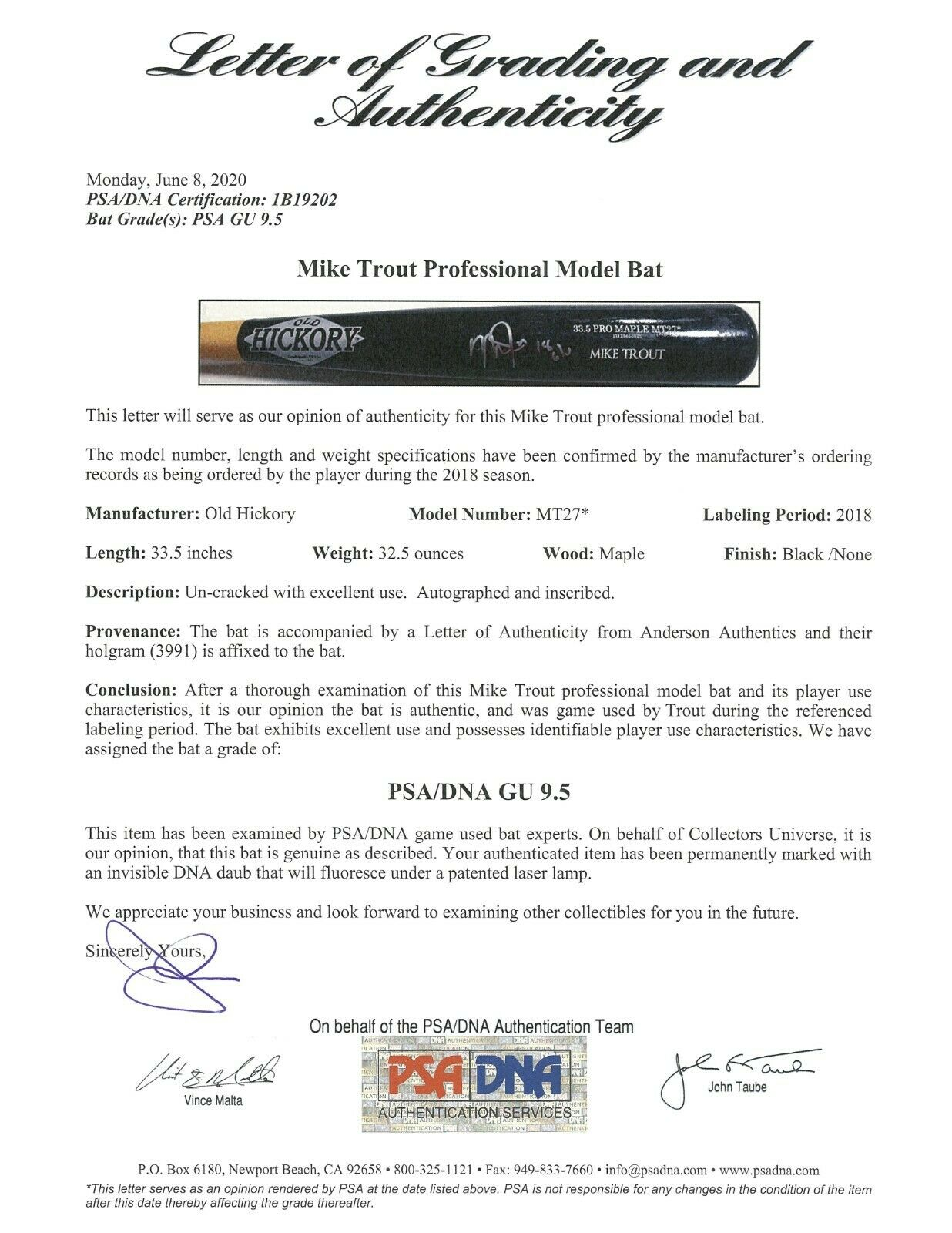 2018 Mike Trout Game Used & Signed Old Hickory MT27 Model Bat PSA DNA GU 9.5