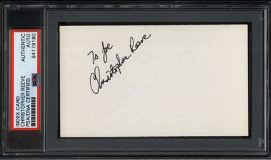 "Christopher Reeve D.2004 Actor Superman Signed 3"" x 5"" Index Card  PSA/DNA"