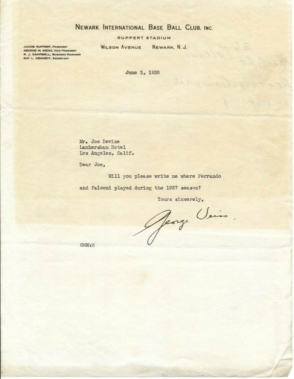 George Weiss 1938 Newark Bears Baseball Signed Typed Letter JSA Autograph