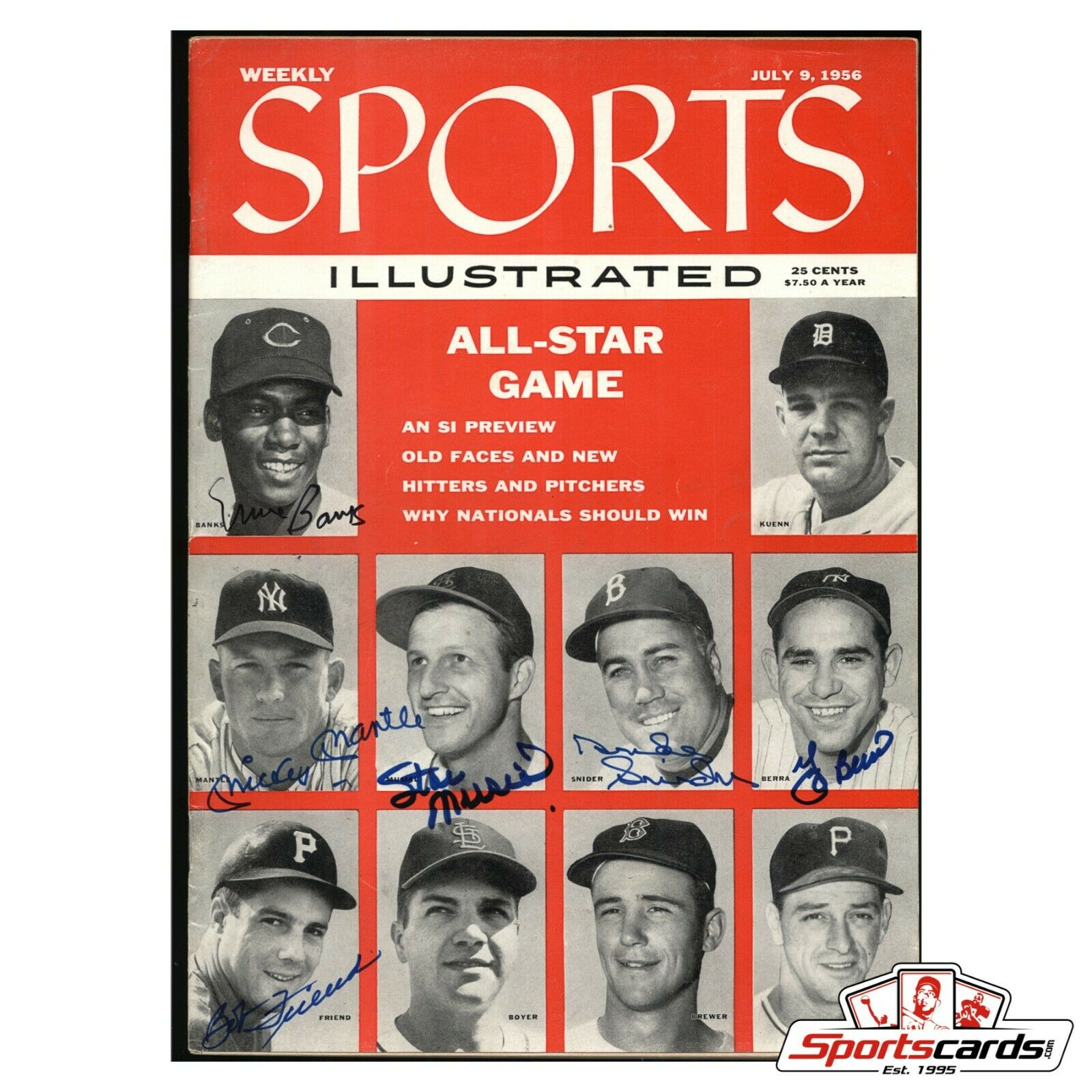 1956 Sports Illustrated All-Star Game Signed by 6 Mantle Banks Musial Berra Snider BAS Beckett LOA