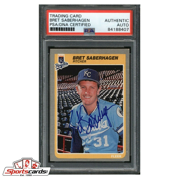 Bret Saberhagen Signed 1985 Fleer Rookie Card Kansas City Royals PSA/DNA