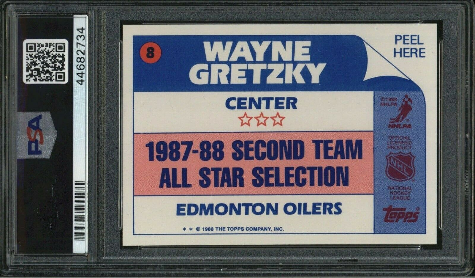 1988 Topps Stickers Wayne Gretzky PSA 9 Mint All-Star #8