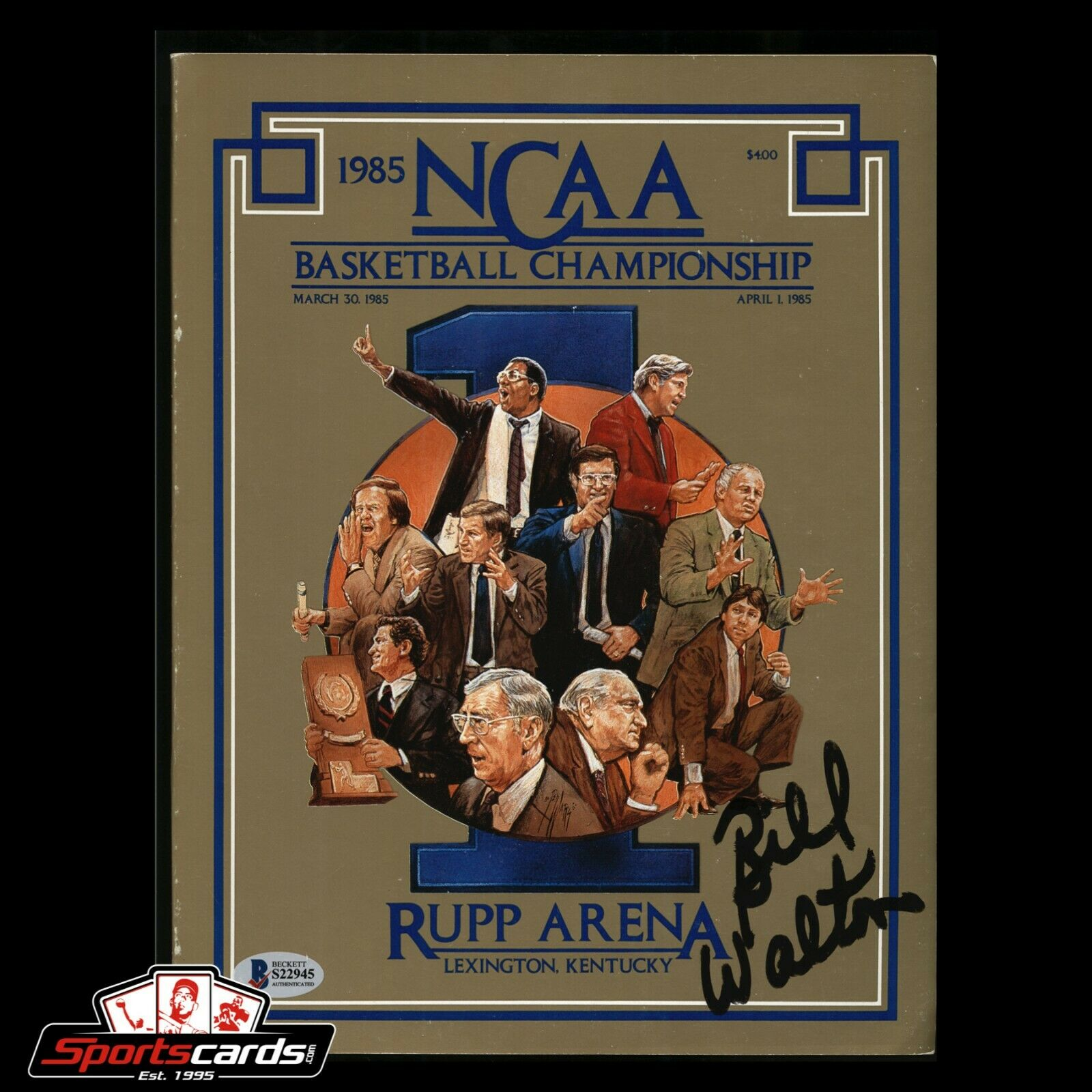 Bill Walton Signed 1985 NCAA Basketball Championship Program BAS Beckett Auto