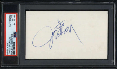 "Janet Jackson Singer Rare Full Signature Signed 3"" x 5"" Index Card  PSA/DNA"