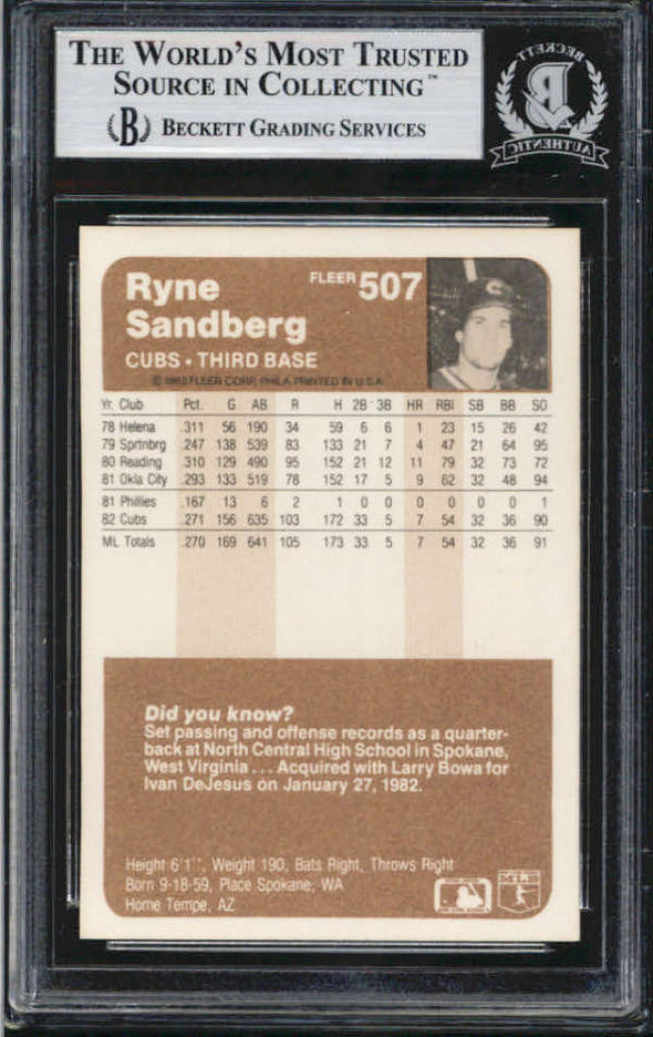 Ryne Sandberg Chicago Cubs 1983 Fleer Signed Auto Card BAS