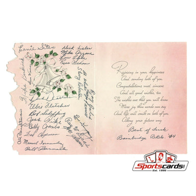 1944 Baseball Stars Signed Wedding Card with 24 Autographs