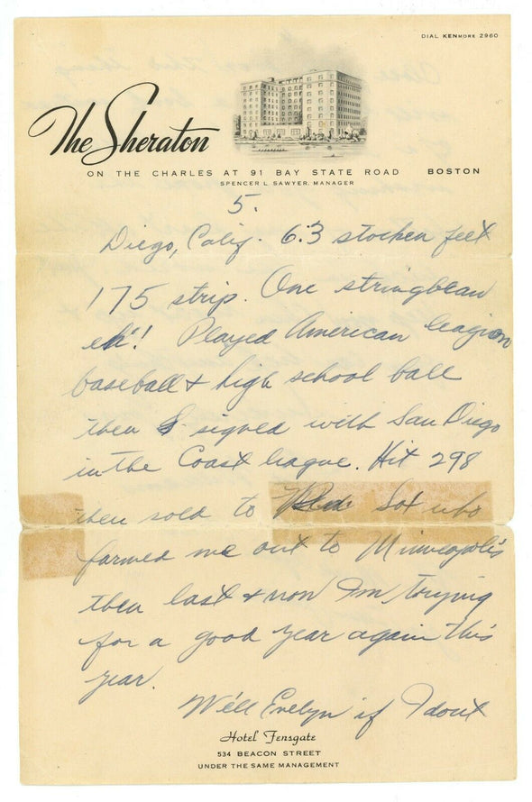 Ted Williams Signed 1940 Handwritten Signed Letter to Mistress w/ Great Content