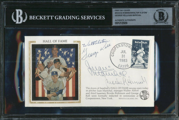 1983 MLB Hall Of Fame Signed FDC BAS Beckett Auto Robinson Alston Kell Marichal