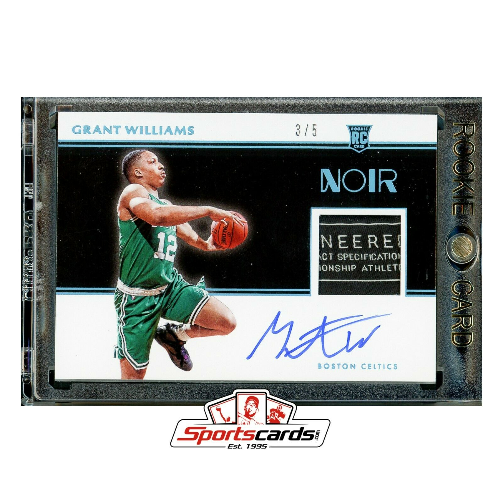 Grant Williams 2019-20 Panini Noir 342 Auto Tag Patch RC #/ 5 Boston Celtics