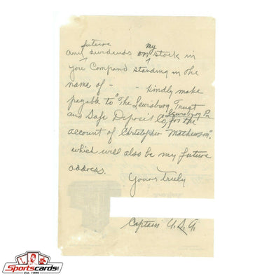 Christy Mathewson Handwritten Signed Auto Letter Beckett BAS LOA Full Name Sig