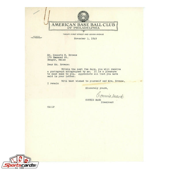 Connie Mack Signed Typed Autographed Letter