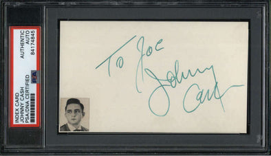 "Johnny Cash D.2003 Singer Signed 3"" x 5"" Index Card  PSA/DNA"