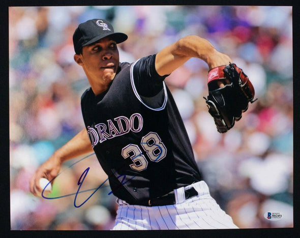 Ubaldo Jimenez Signed 11x14 Photo Colorado Rockies BAS Beckett COA