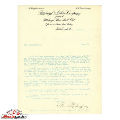 Barney Dreyfuss Pittsburgh Pirates Signed Auto Letter to HOFer Fred Clarke JSA