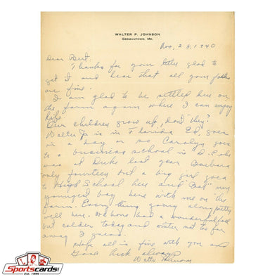 Walter Johnson 1940 Signed & Handwritten Letter Beckett BAS LOA