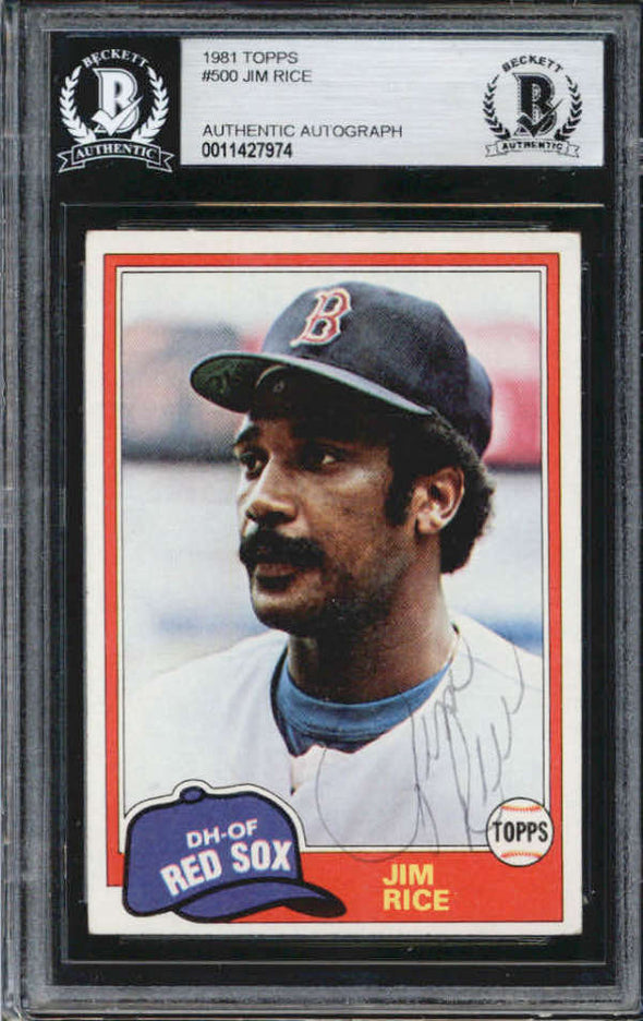 Jim Rice Boston Red Sox 1981 Topps Signed Auto Card BAS