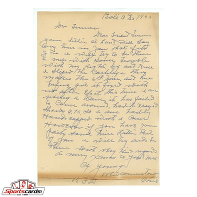 Cy Young 1944 Handwritten Signed Autographed Letter- PSA/DNA