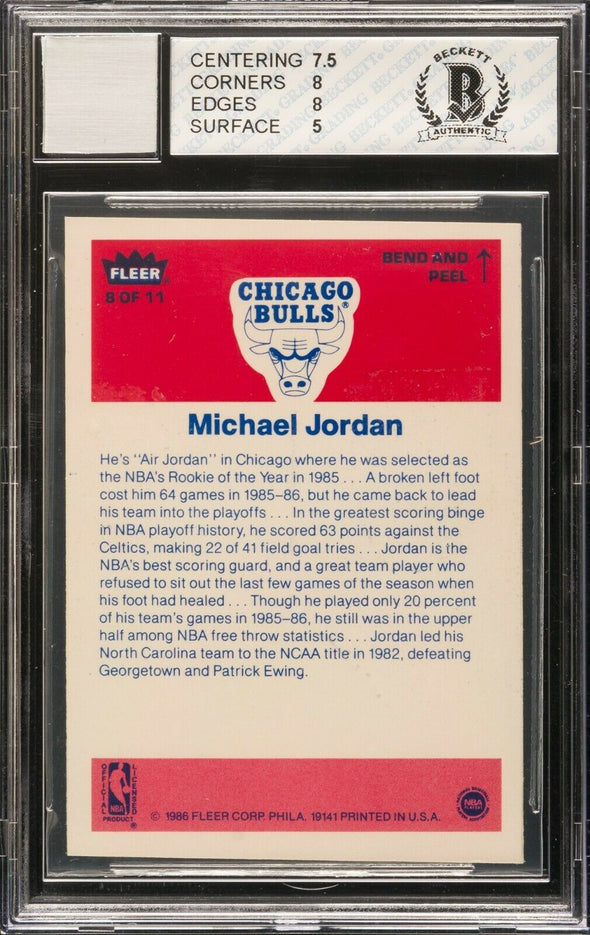 1986-87 FLEER MICHAEL JORDAN #8 RC STICKER AUTO BGS 8 *PERIOD AUTO* REGRADE!
