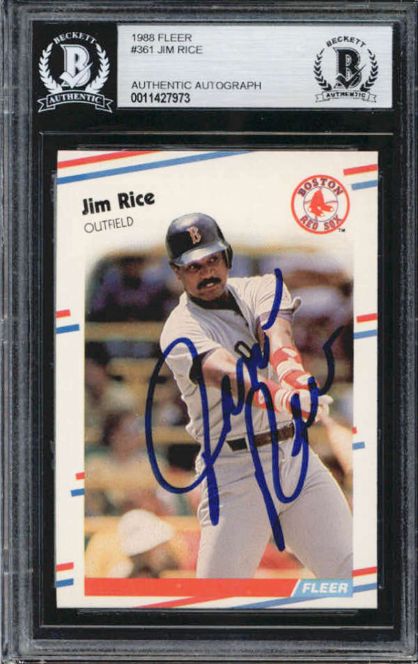Jim Rice Boston Red Sox 1988 Fleer Signed Auto Card BAS