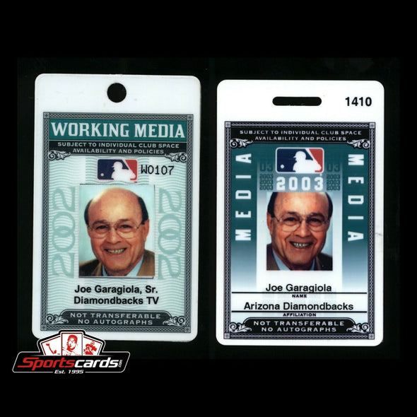 Joe Garagiola 2002 and  2003 MLB Media Pass Arizona Diamondbacks