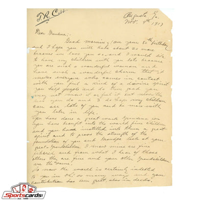 Ty Cobb 1917 Handwritten Letter to his Grandmother