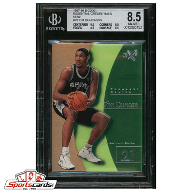 1997-98 E-X2001 TIM DUNCAN #75 ESSENTIAL CREDENTIALS NOW RC 63/75 BGS 8.5 RARE!