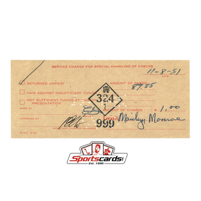 Marilyn Monroe Bank Issue Service Charge Receipt Dated 11-8-51