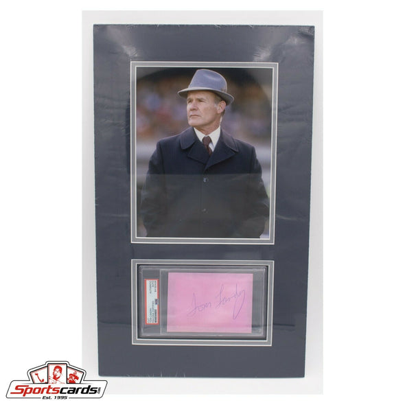 Tom Landry PSA/DNA Signed Cut Page Matted w/ 8x10 Photo 12x20 overall Cowboys