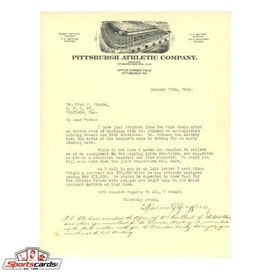 Barney Dreyfuss Signed Letter to HOFer Fred Clarke on Pittsburgh Pirates Station