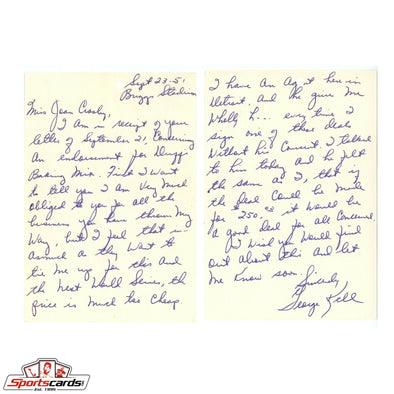 George Kell Signed Handwritten 1951 Letter Detroit Tigers